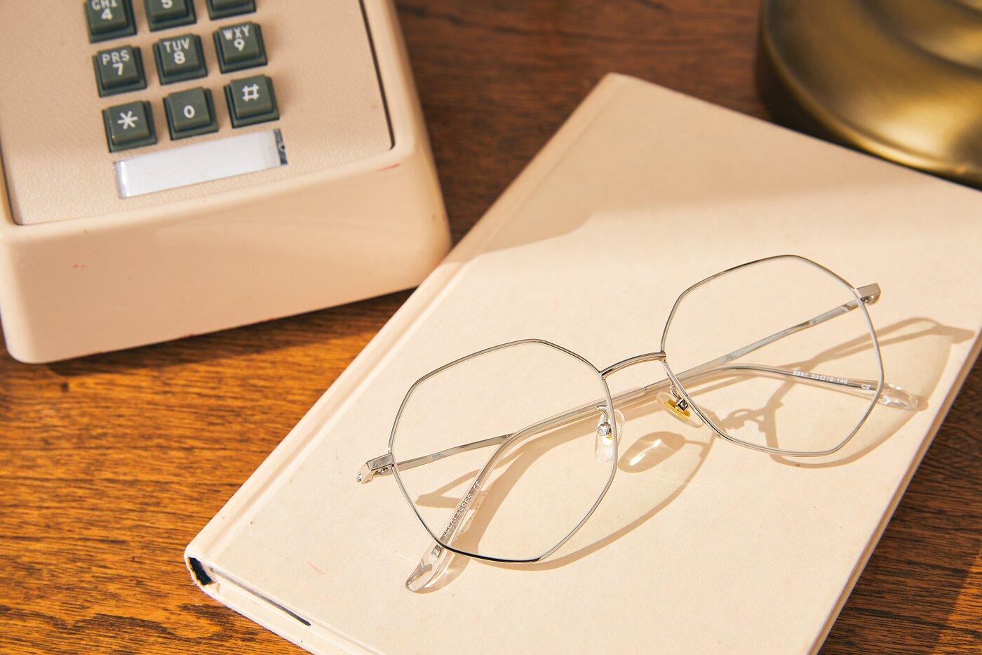 Silver Hipster Aviator Geometric Eyeglasses