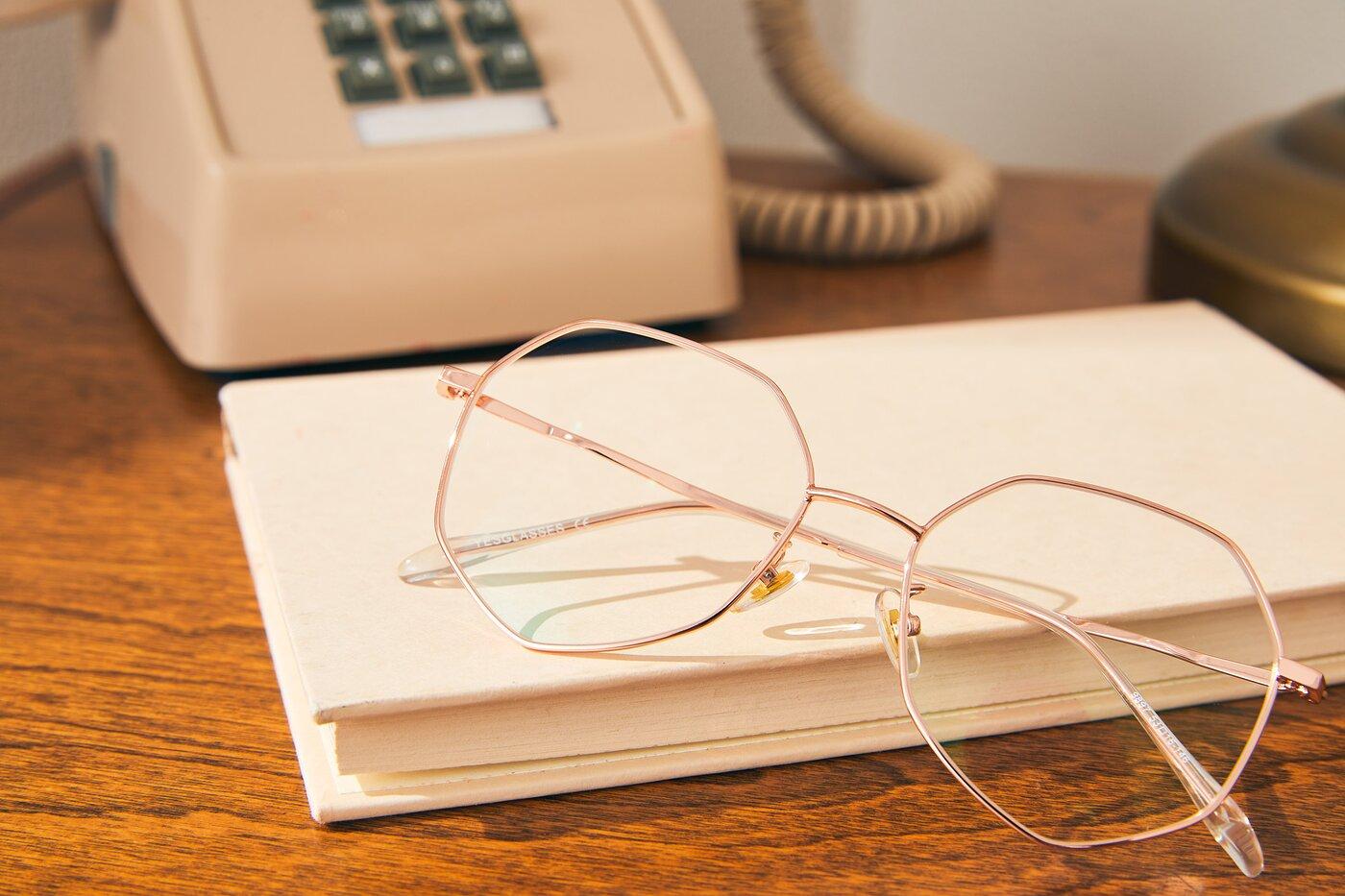 Rose Gold Hipster Aviator Geometric Eyeglasses
