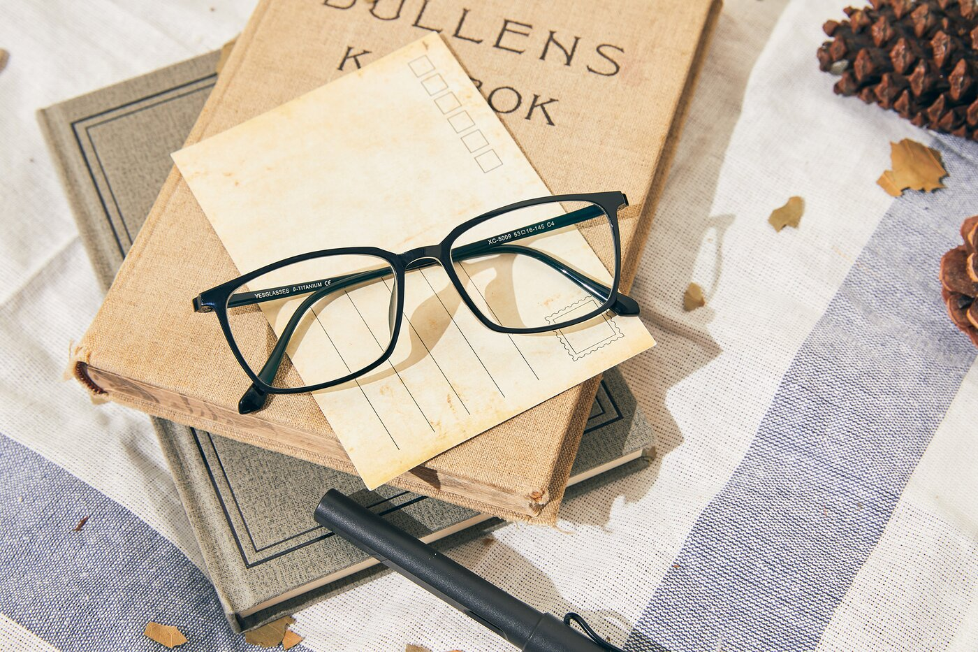 Black Geek-Chic Low Bridge Fit Geometric Eyeglasses