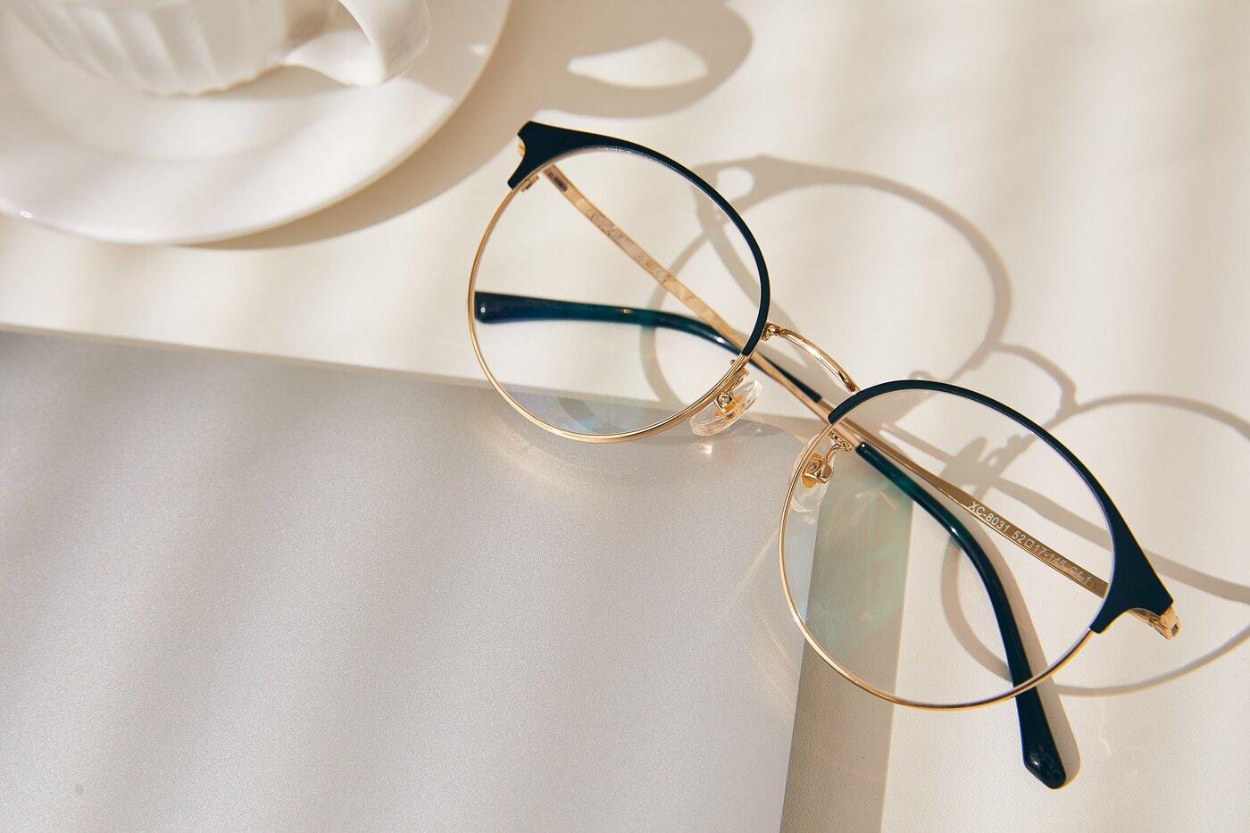 Black-Gold Browline Metal Round Eyeglasses
