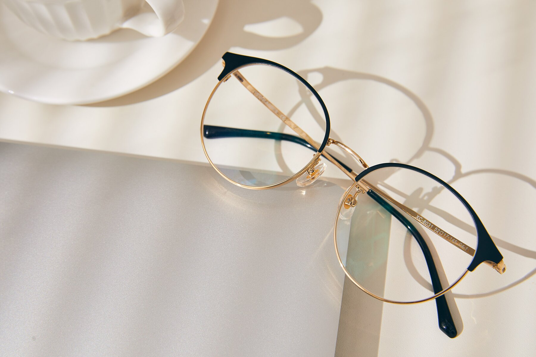 Lifestyle photography #1 of XC-8031 in Black-Gold with Clear Blue Light Blocking Lenses
