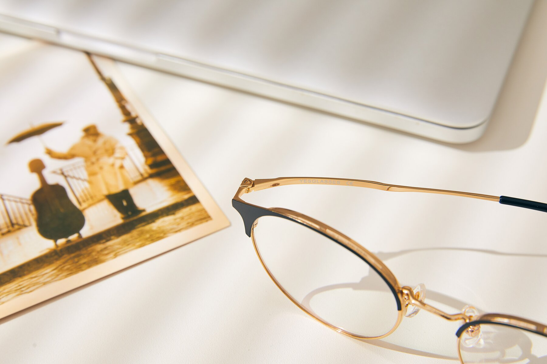 Lifestyle photography #3 of XC-8031 in Black-Gold with Clear Eyeglass Lenses