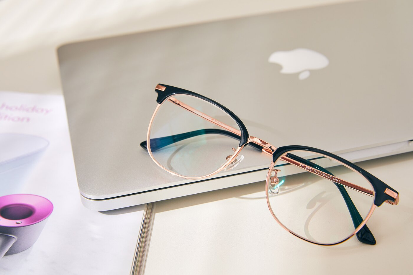 Black-Rose Gold Browline Titanium TR90 Eyeglasses