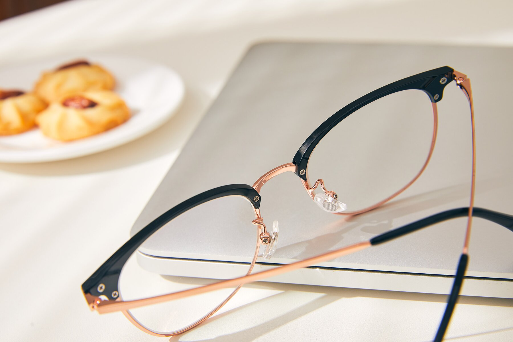 Lifestyle photography #3 of XC-5002 in Black-Rose Gold with Clear Eyeglass Lenses