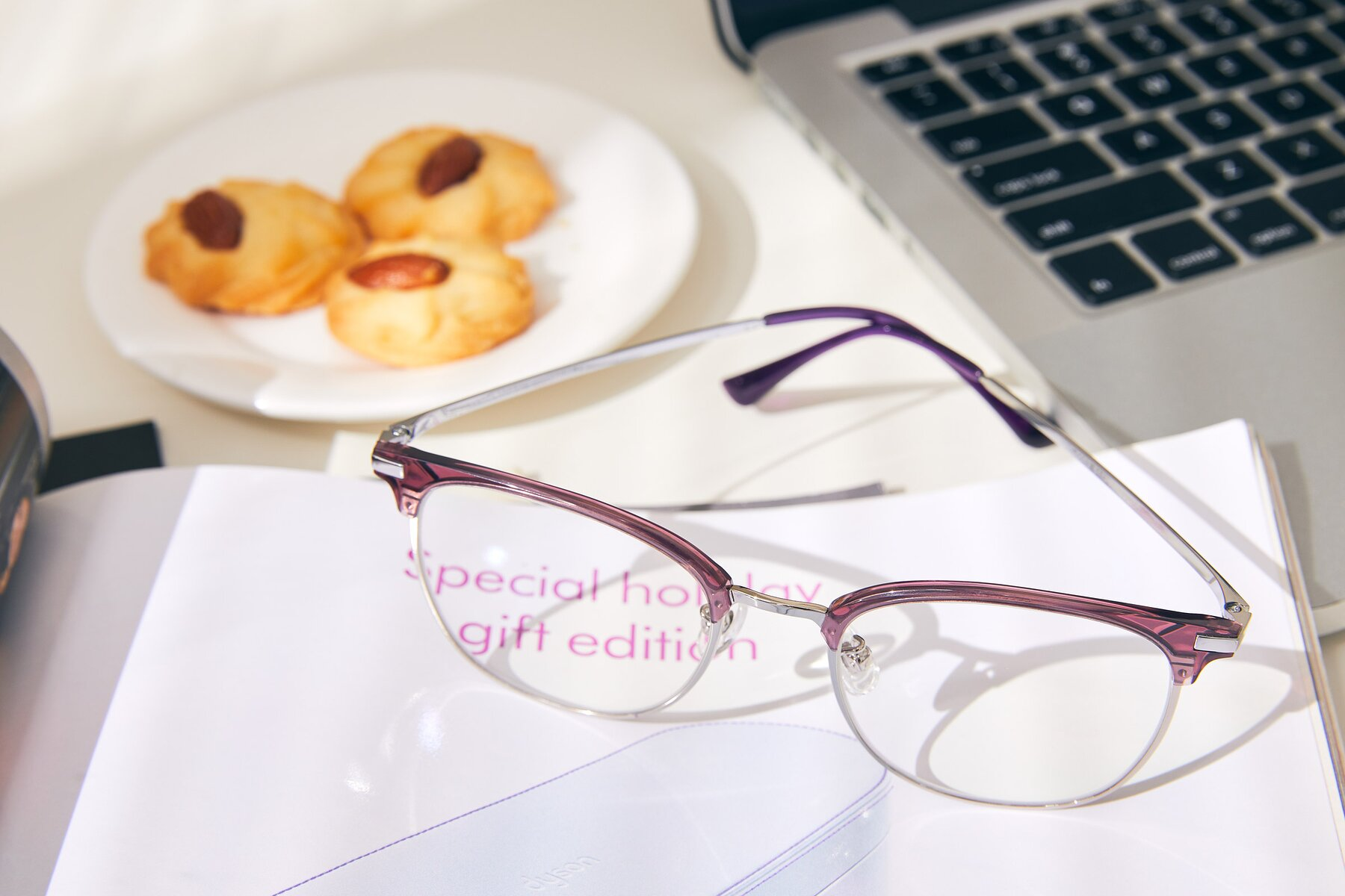 Lifestyle photography #2 of XC-5002 in Purple-Silver with Clear Eyeglass Lenses