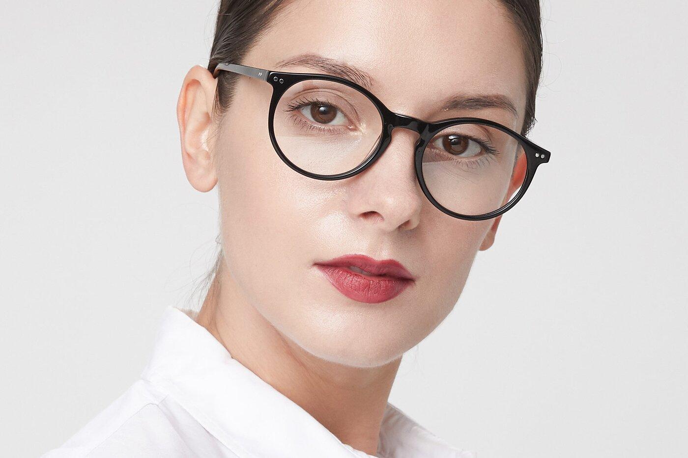Black Narrow Wayfarer Acetate Eyeglasses
