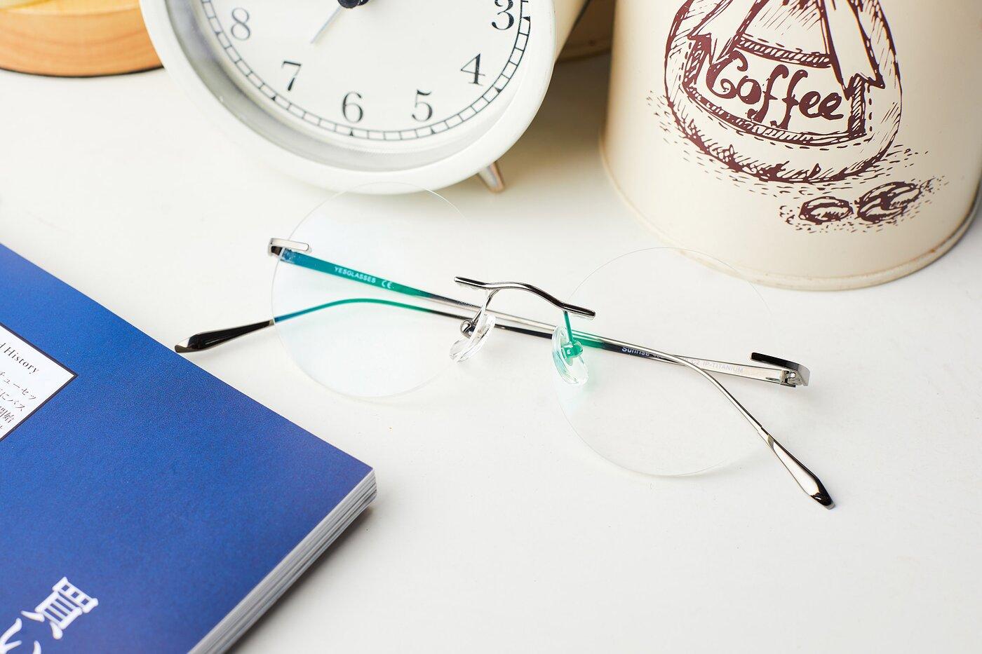 Gun Retro-Vintage Round Rimless Eyeglasses