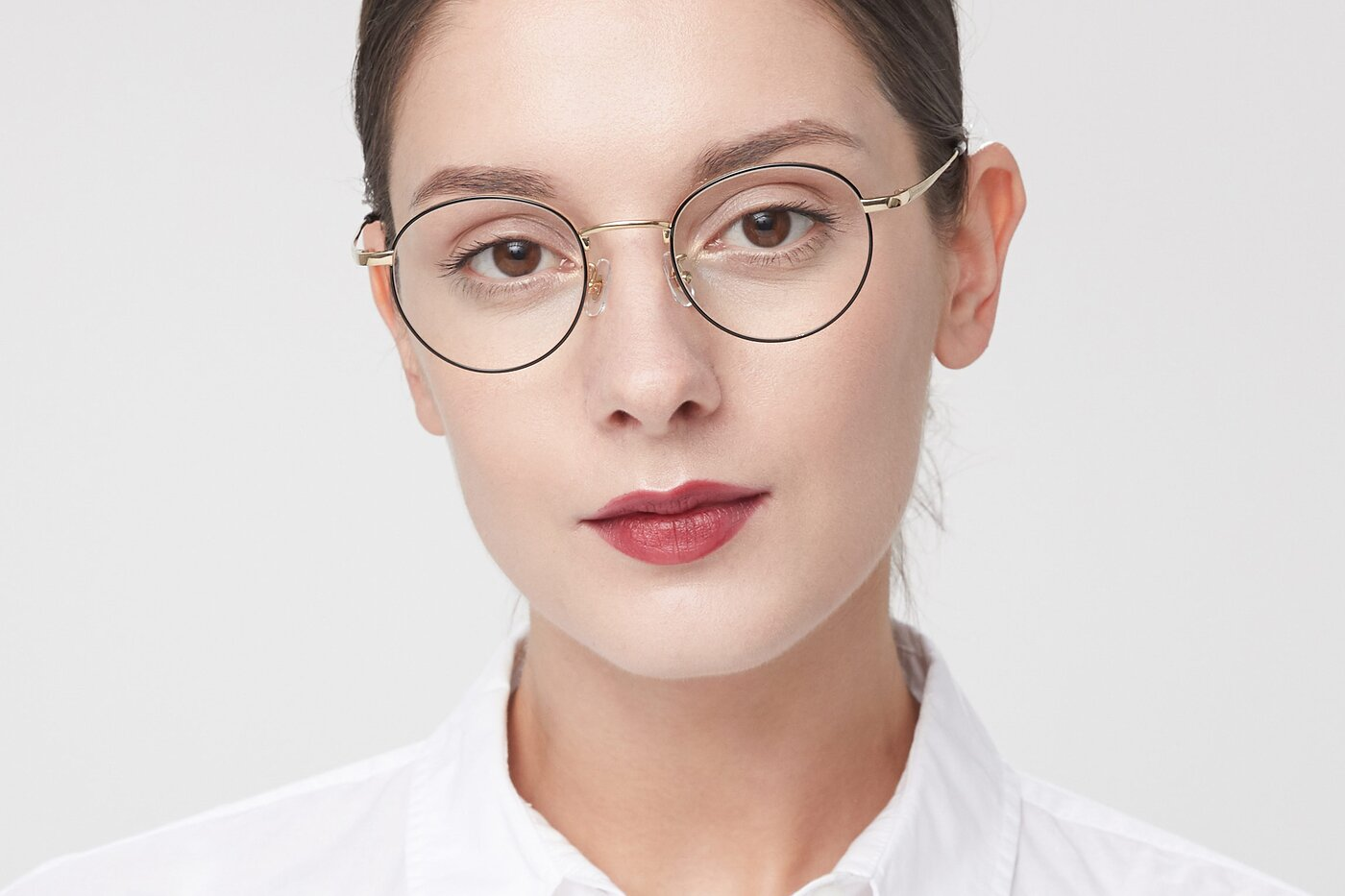 Black-Gold Retro-Vintage Titanium Round Eyeglasses