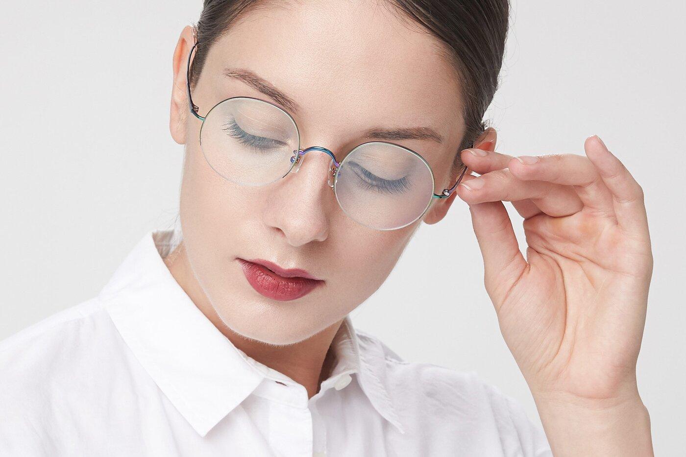 Peafowl Green Titanium Round Semi-Rimless Eyeglasses