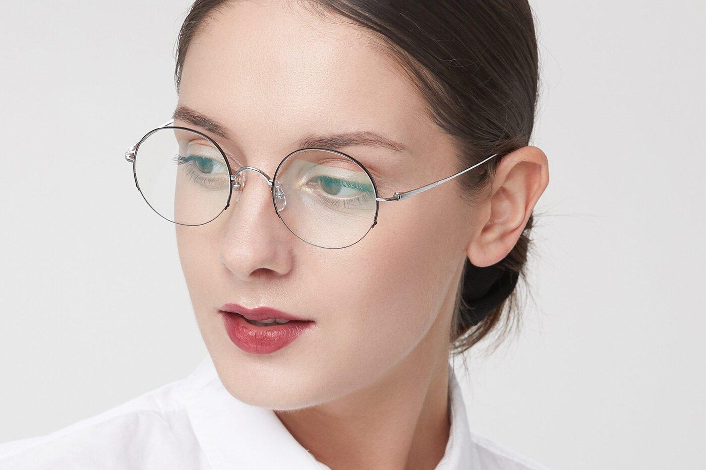 Black-Silver Titanium Round Semi-Rimless Eyeglasses