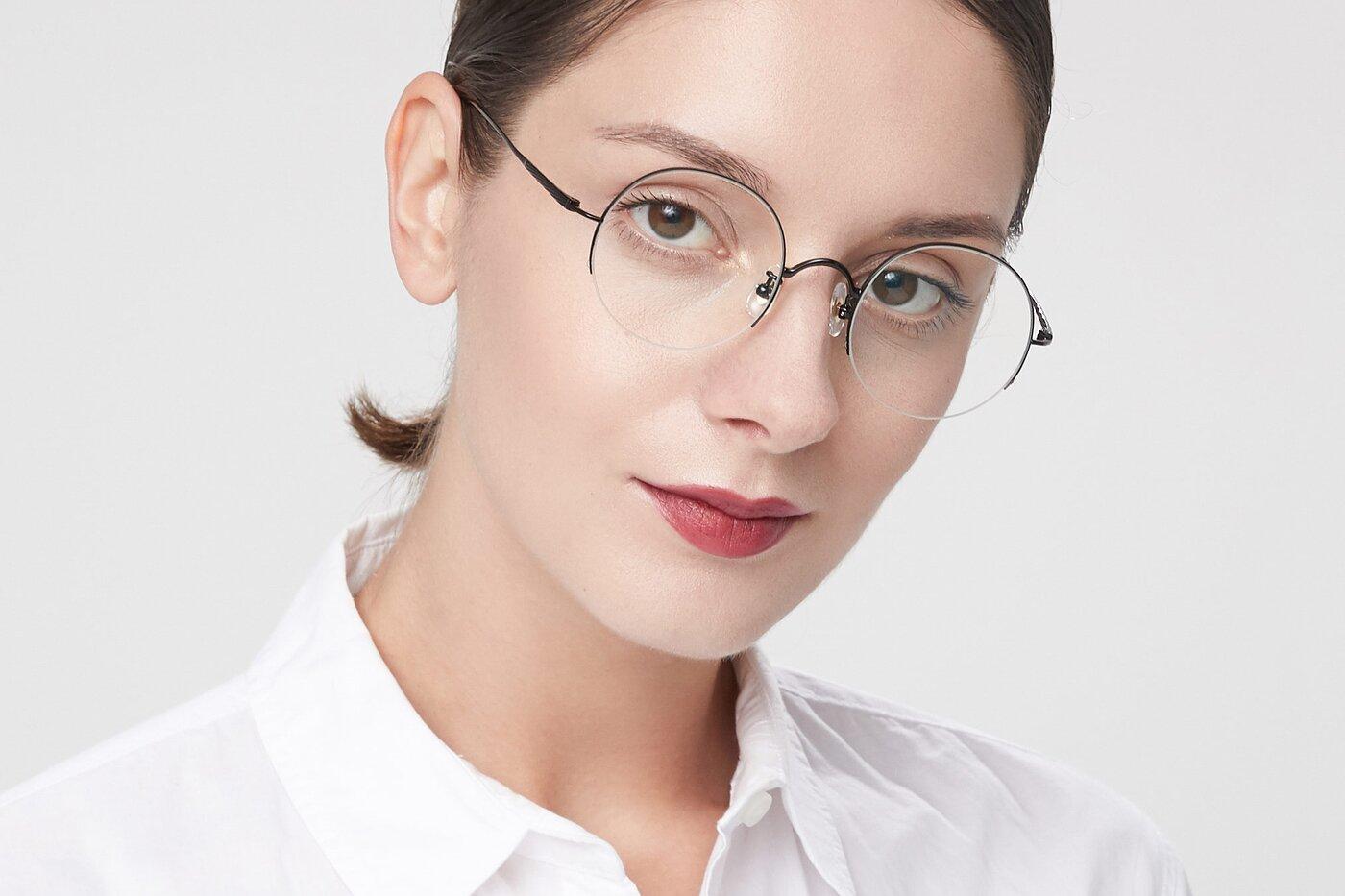 Matte Black Titanium Round Semi-Rimless Eyeglasses