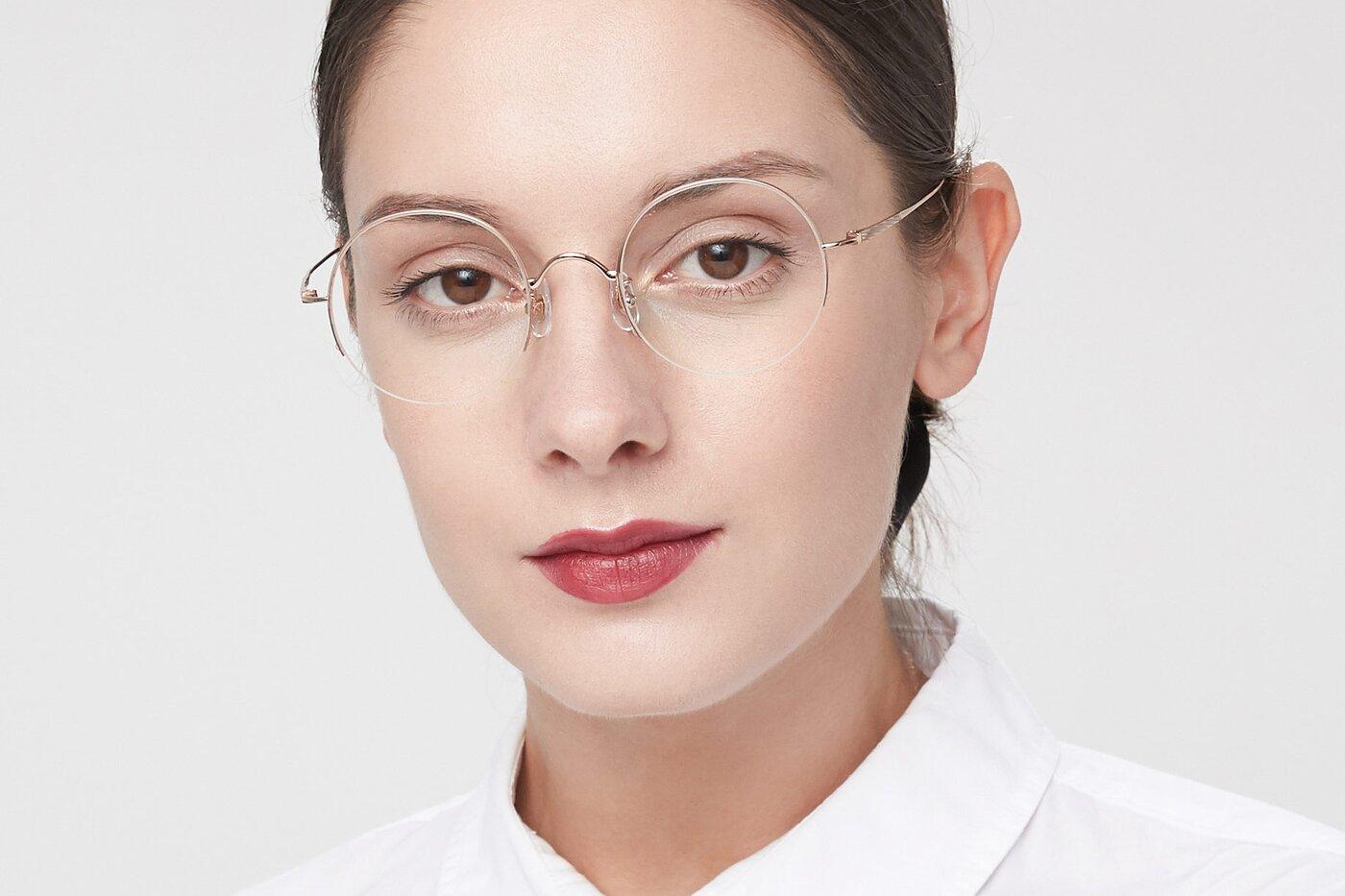 Rose Glod Titanium Round Semi-Rimless Eyeglasses