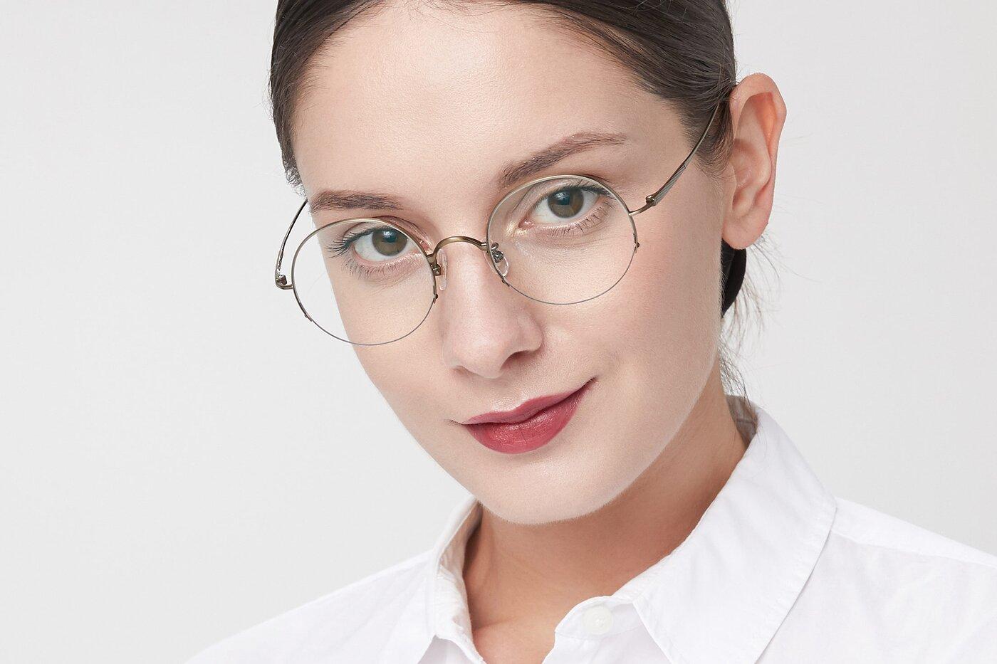 Bronze Titanium Round Semi-Rimless Eyeglasses