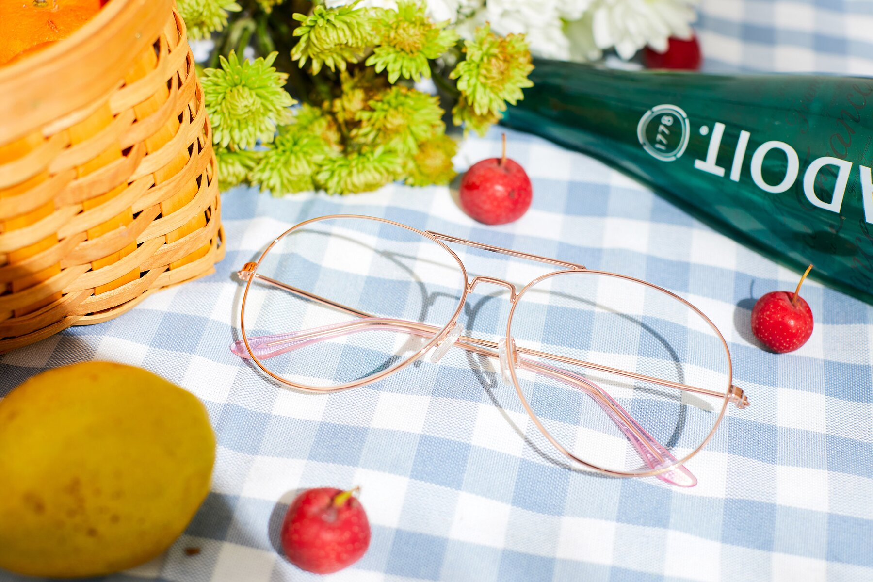 Women's lifestyle photography #1 of Paradise in Rose Glod with Clear Blue Light Blocking Lenses