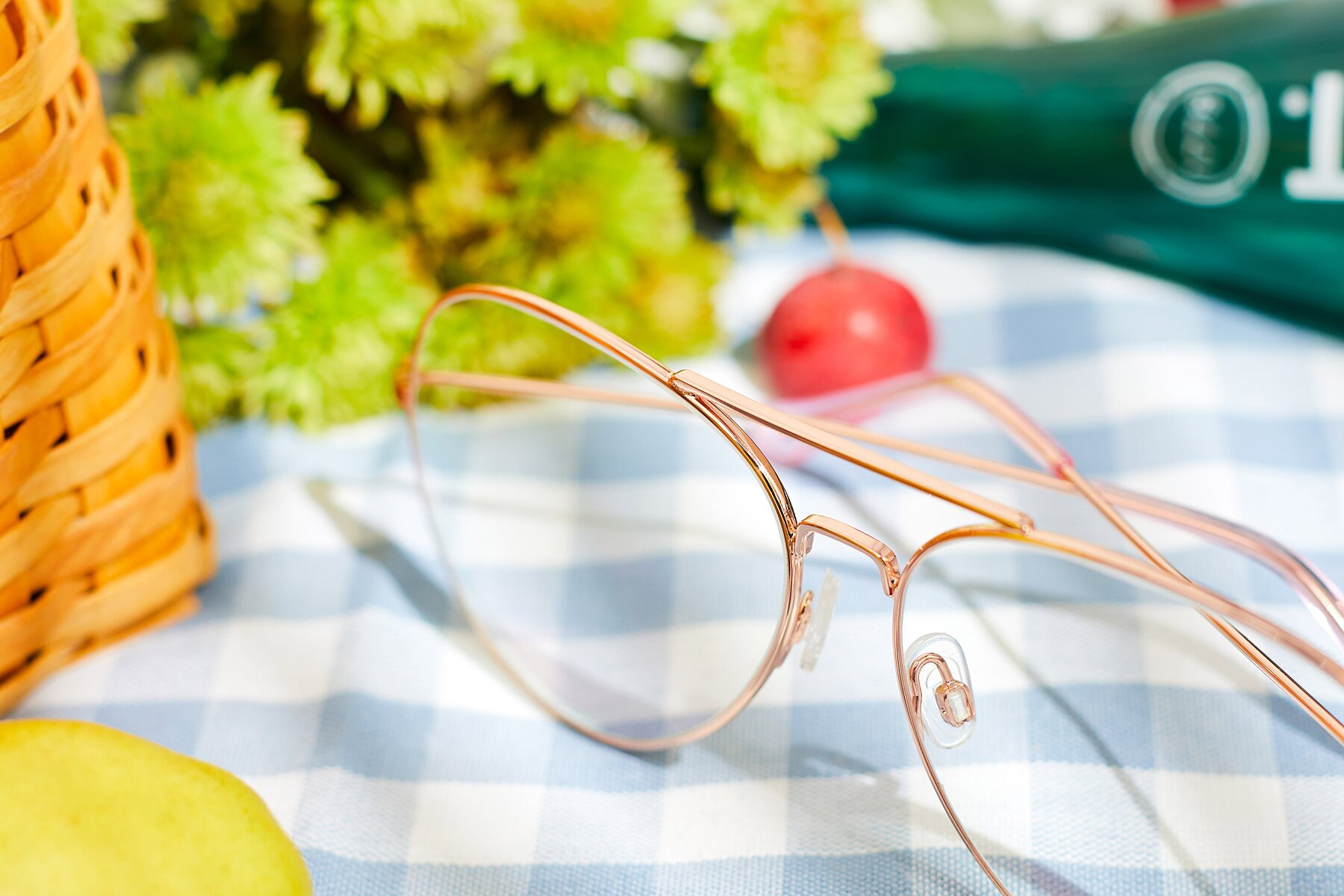 Women's lifestyle photography #3 of Paradise in Rose Glod with Clear Blue Light Blocking Lenses