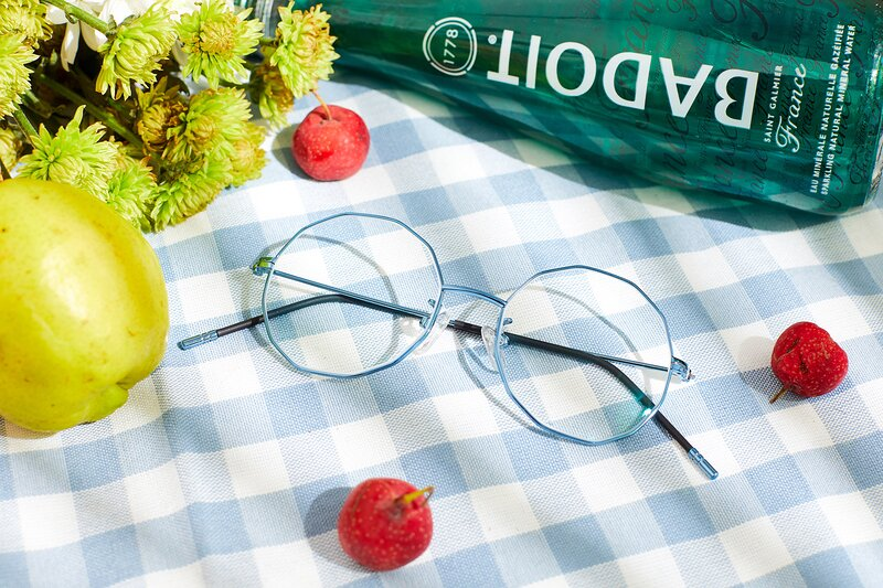 Blue Hipster Thin Geometric Eyeglasses