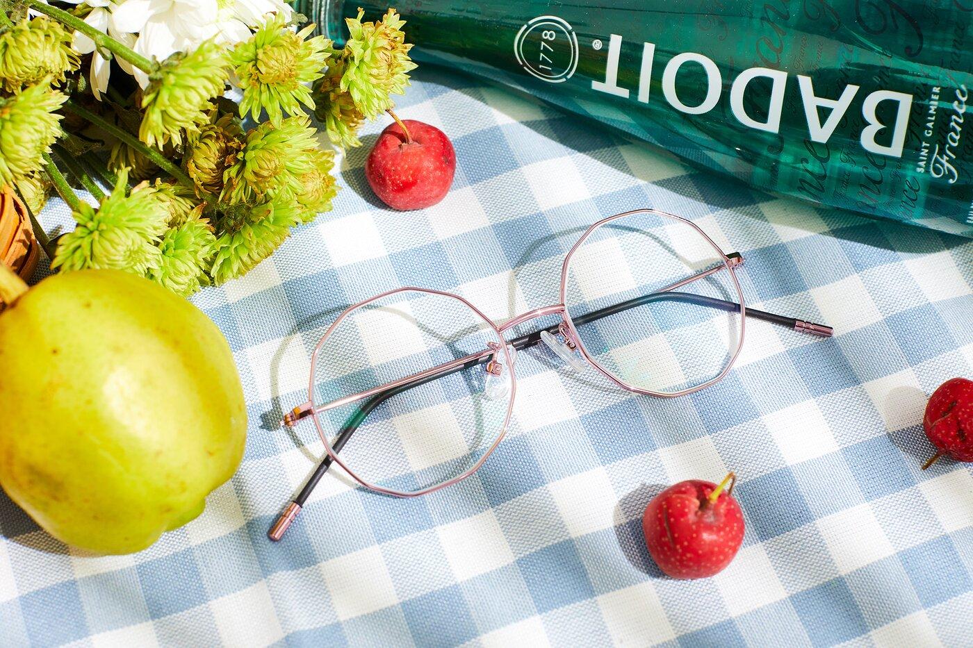 Pink Hipster Thin Geometric Eyeglasses