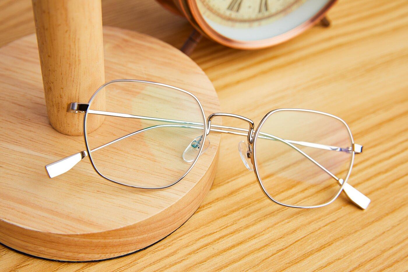 Silver Narrow Metal Geometric Eyeglasses