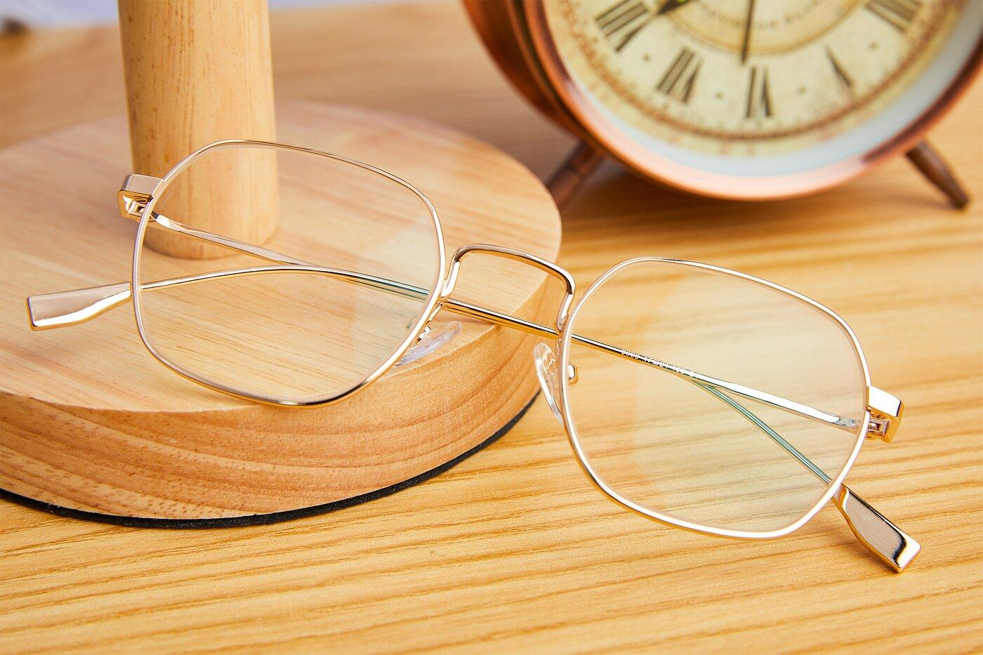 Gold Narrow Metal Geometric Eyeglasses