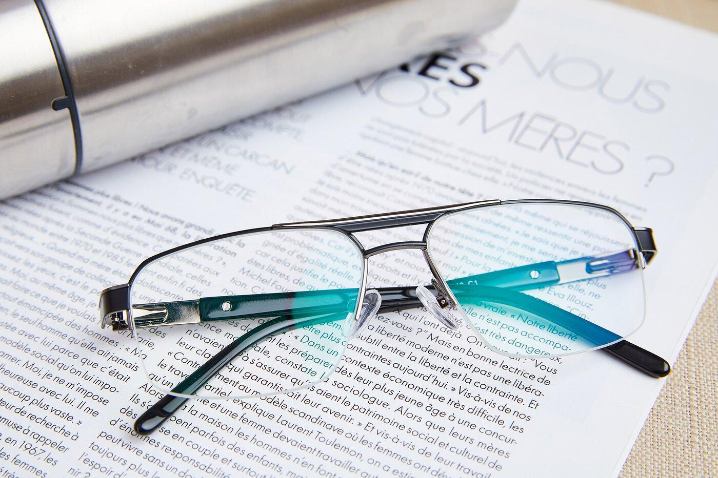 Black-Gun Classic Double Bridge Semi-Rimless Eyeglasses