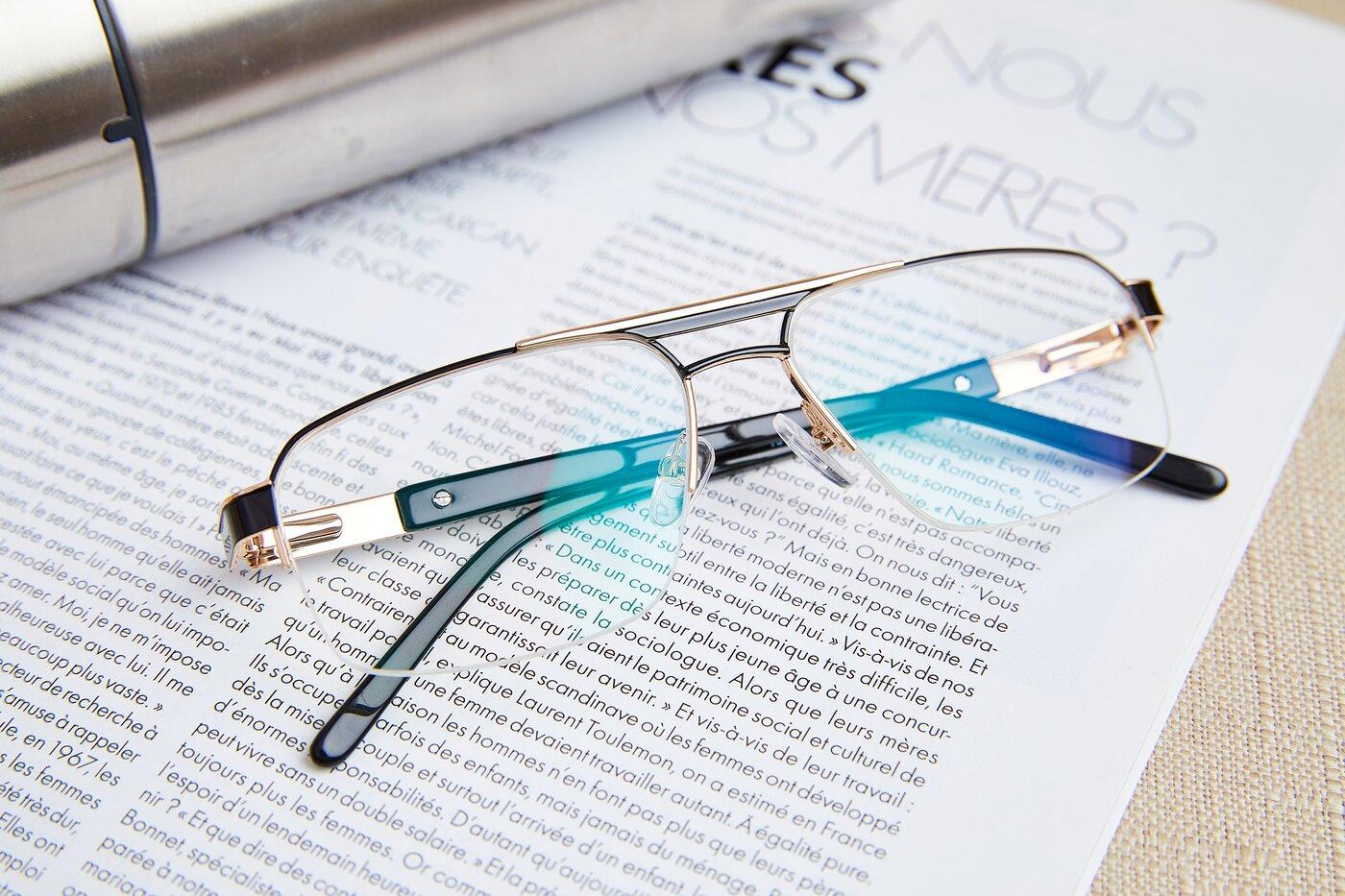 Black-Gold Classic Double Bridge Semi-Rimless Eyeglasses