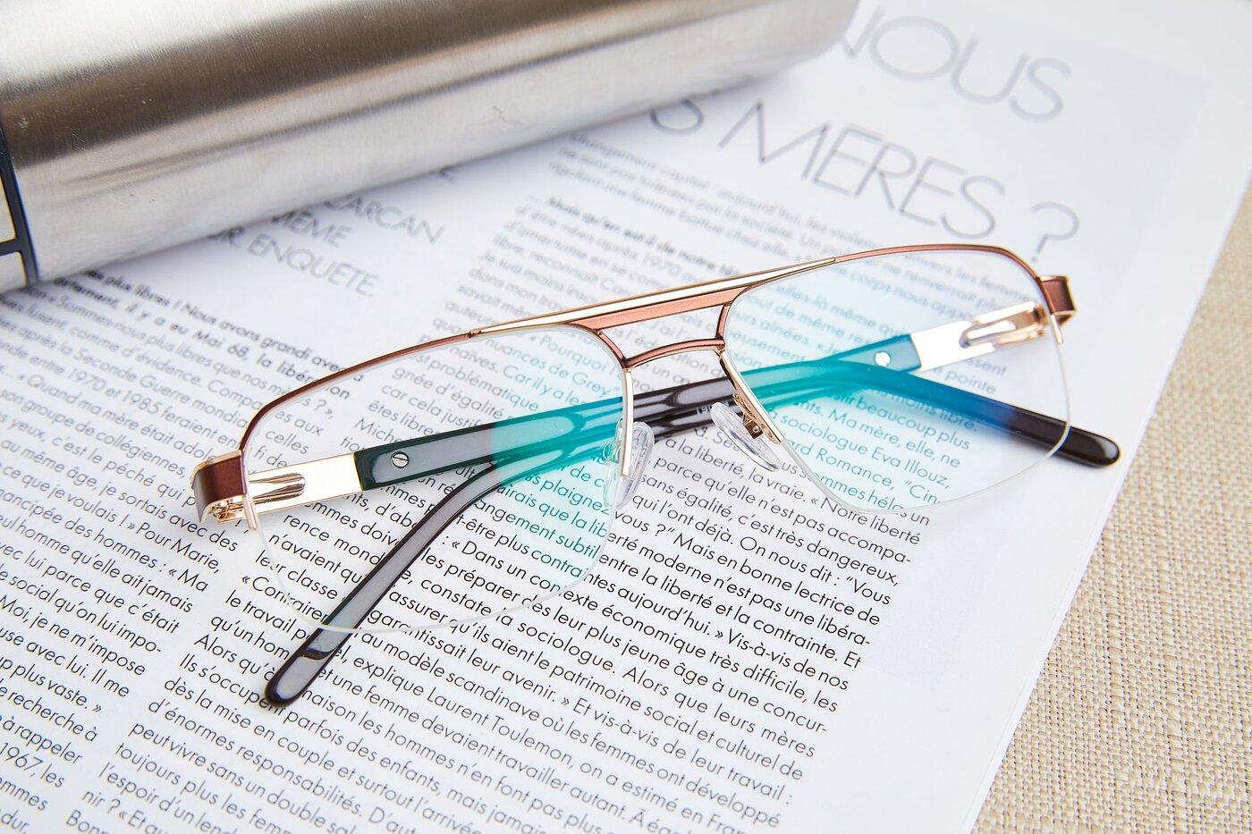 Bronze-Gold Classic Double Bridge Semi-Rimless Eyeglasses