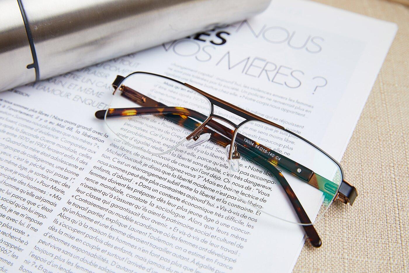 Black-Bronze Classic Double Bridge Semi-Rimless Eyeglasses