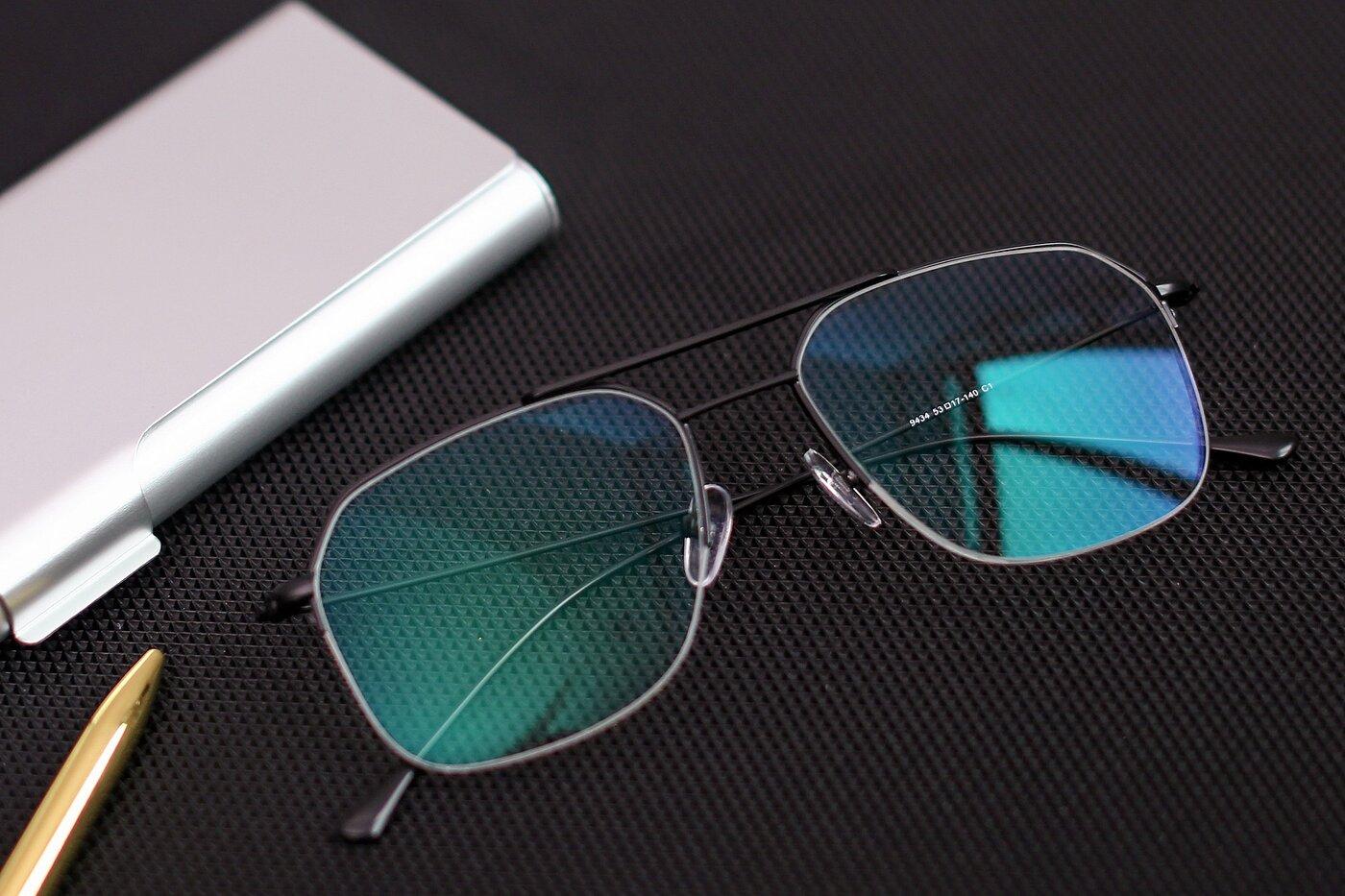 Matte Black Grandpa Geometric Semi-Rimless Eyeglasses