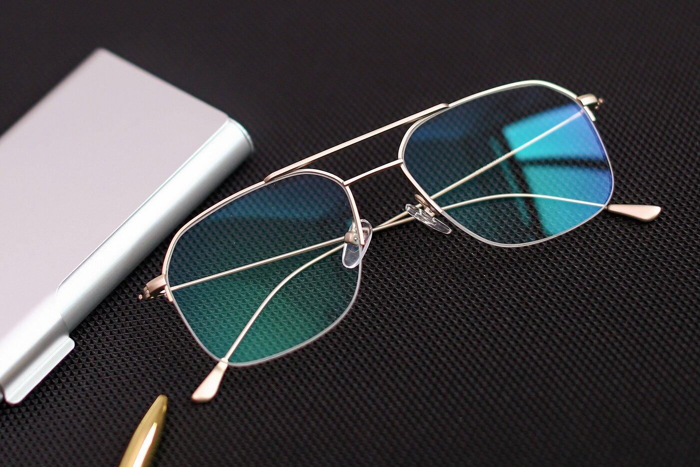 Jet Gold Grandpa Geometric Semi-Rimless Eyeglasses