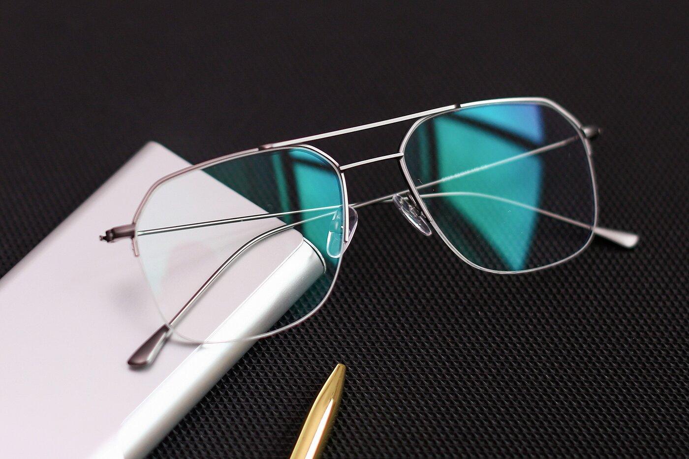 Gun Grandpa Geometric Semi-Rimless Eyeglasses