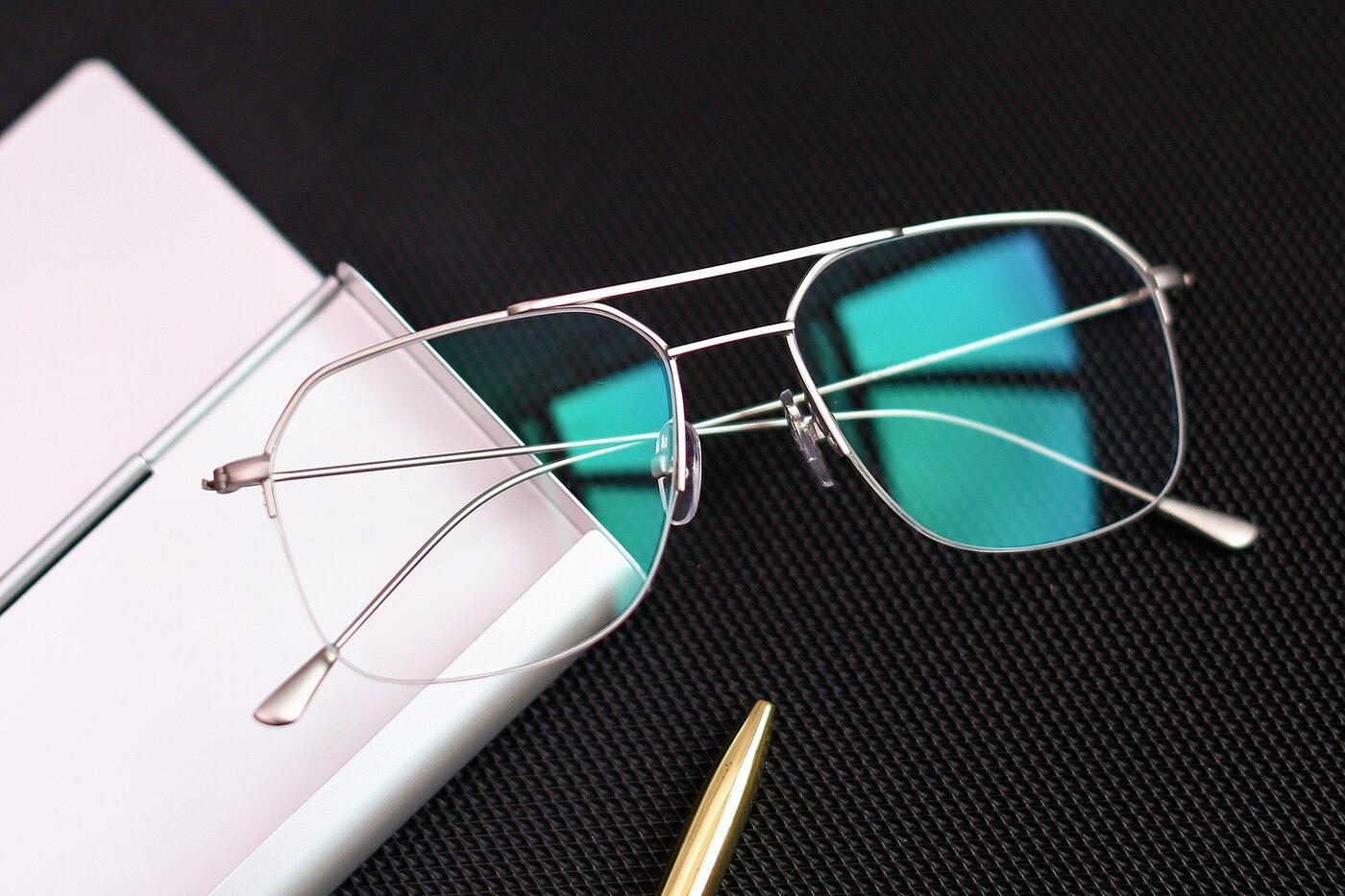 Silver Grandpa Geometric Semi-Rimless Eyeglasses