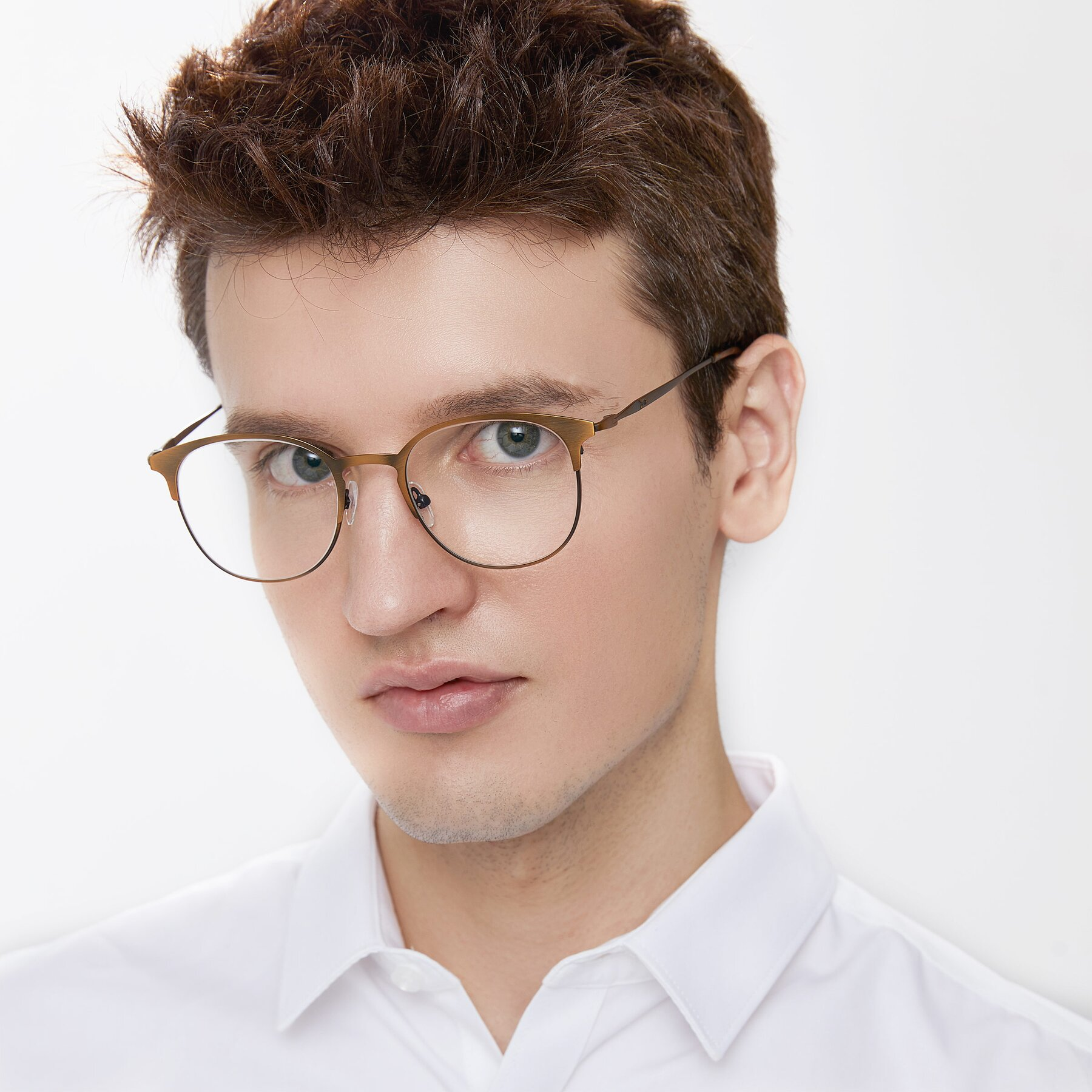 Men's lifestyle photography of 9547 in Antique Bronze with Clear Eyeglass Lenses