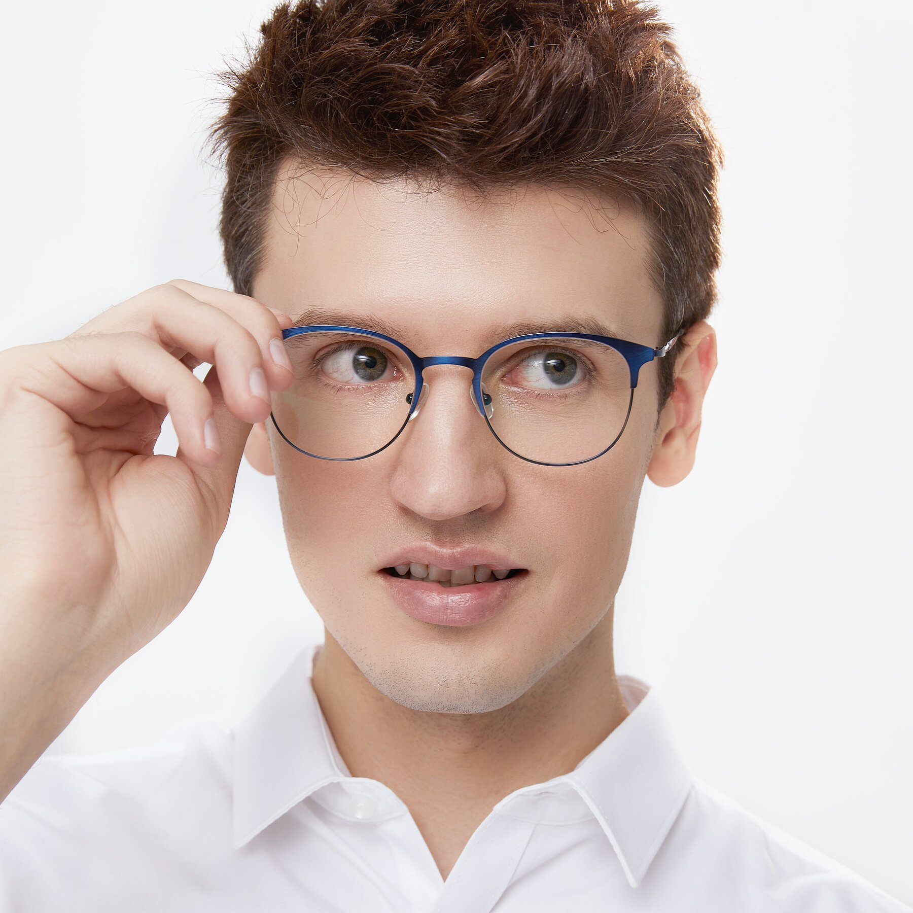 Men's lifestyle photography of 9547 in Antique Blue with Clear Eyeglass Lenses