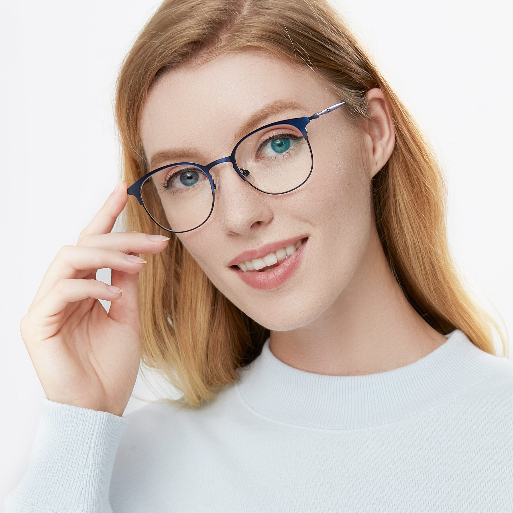Women's lifestyle photography of 9547 in Antique Blue with Clear Eyeglass Lenses