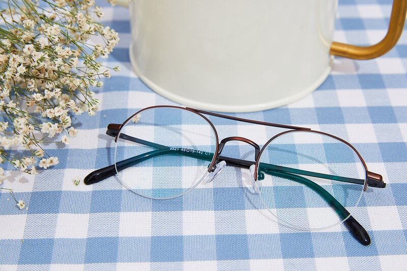 Brown Double Bridge Round Semi-Rimless Eyeglasses