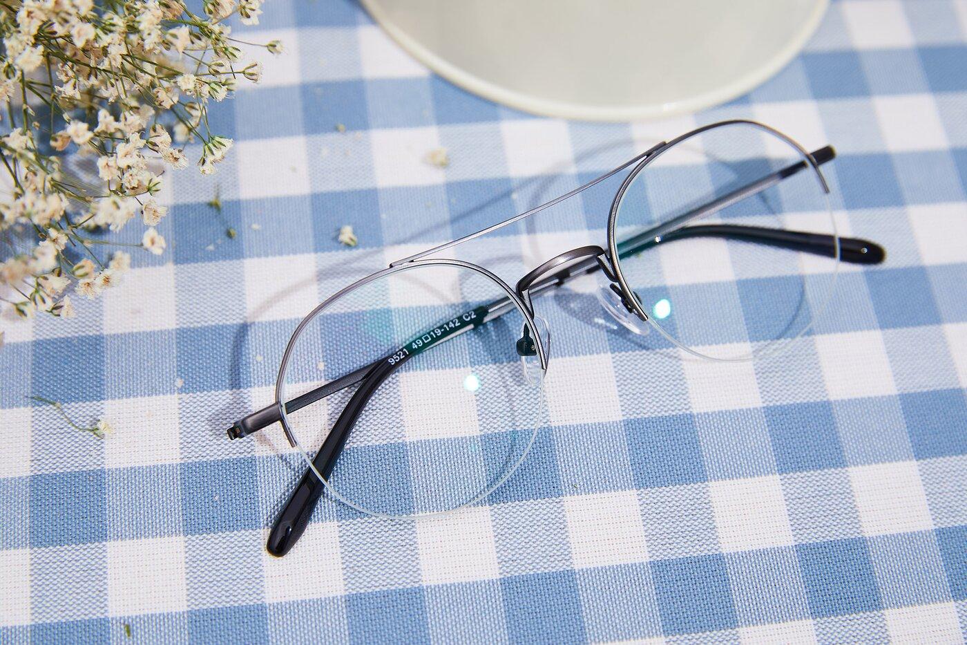 Gun Double Bridge Round Semi-Rimless Eyeglasses