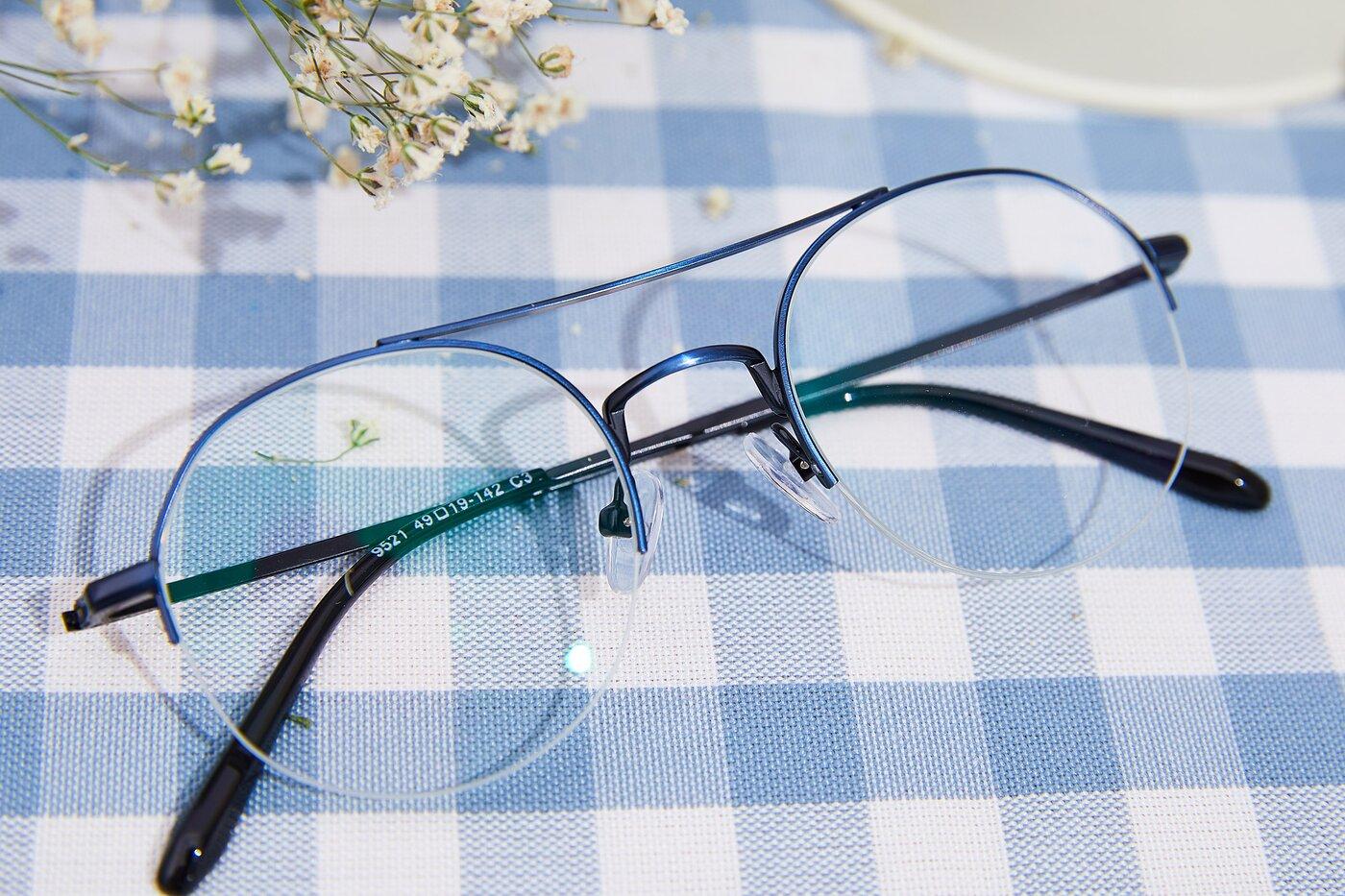 Blue Double Bridge Round Semi-Rimless Eyeglasses
