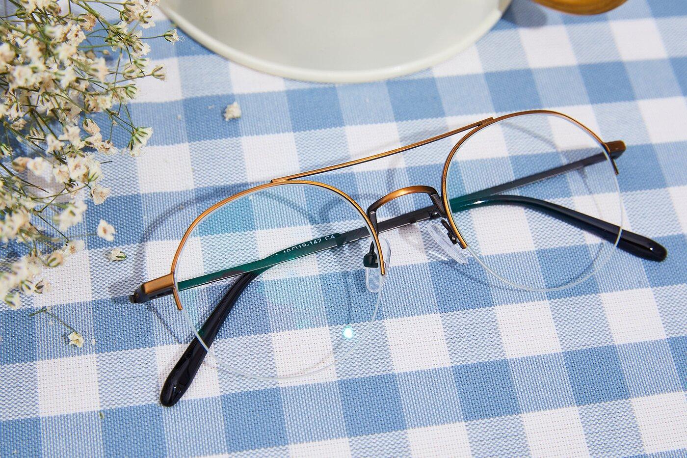 Bronze Double Bridge Round Semi-Rimless Eyeglasses