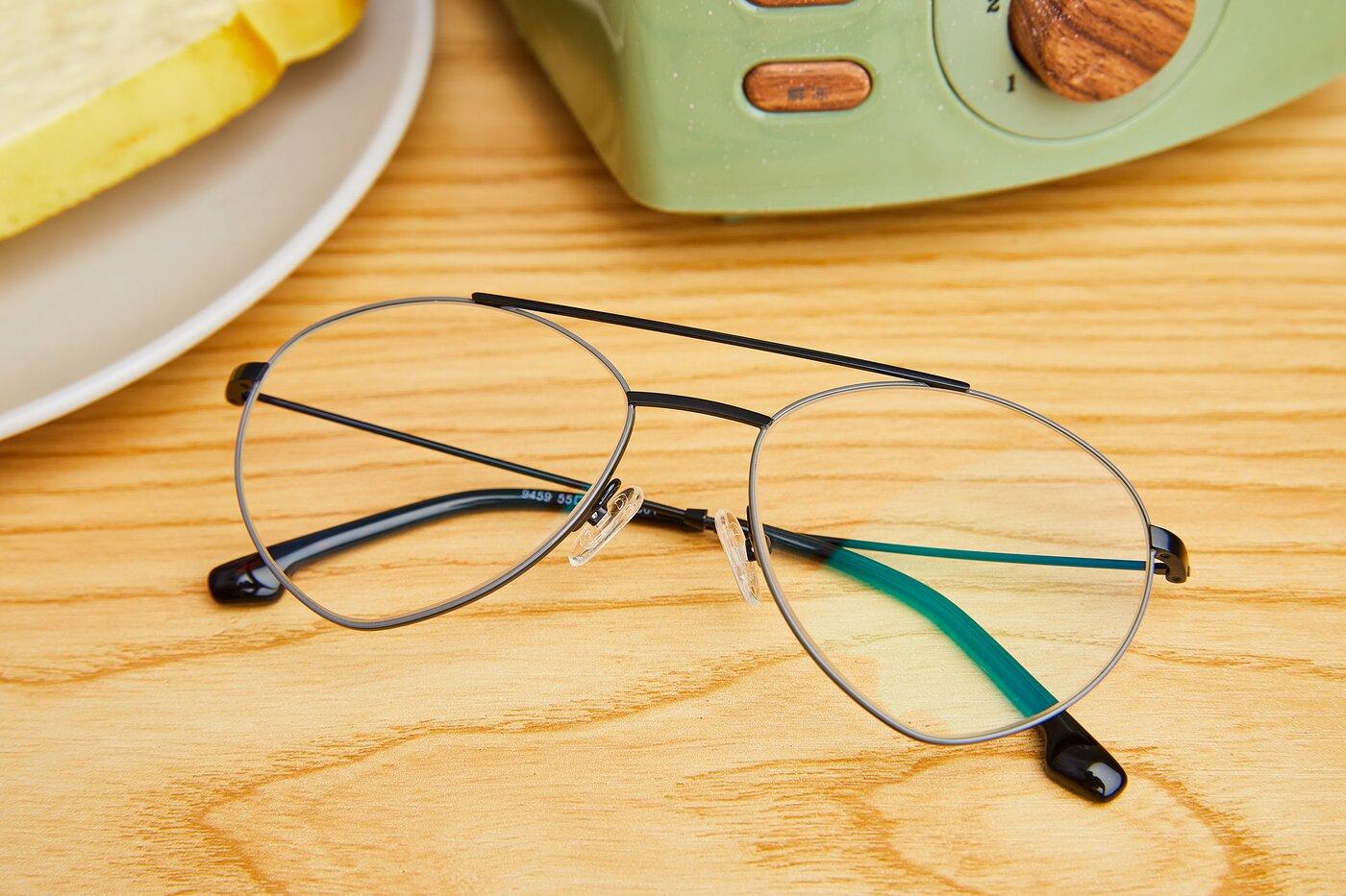 Matte Black-Grey Geek-Chic Aviator Geometric Eyeglasses