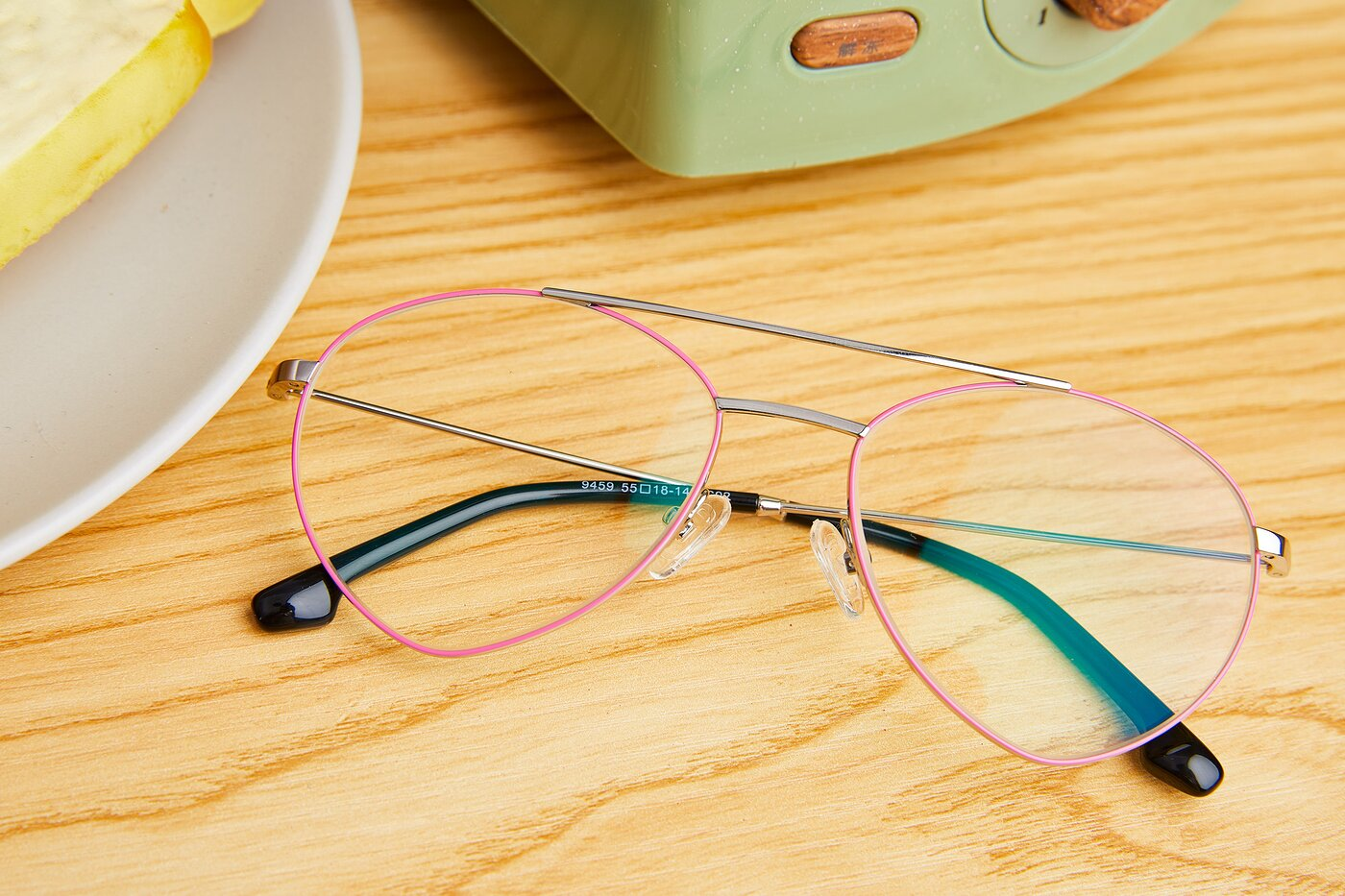 Silver-Pink Geek-Chic Aviator Geometric Eyeglasses