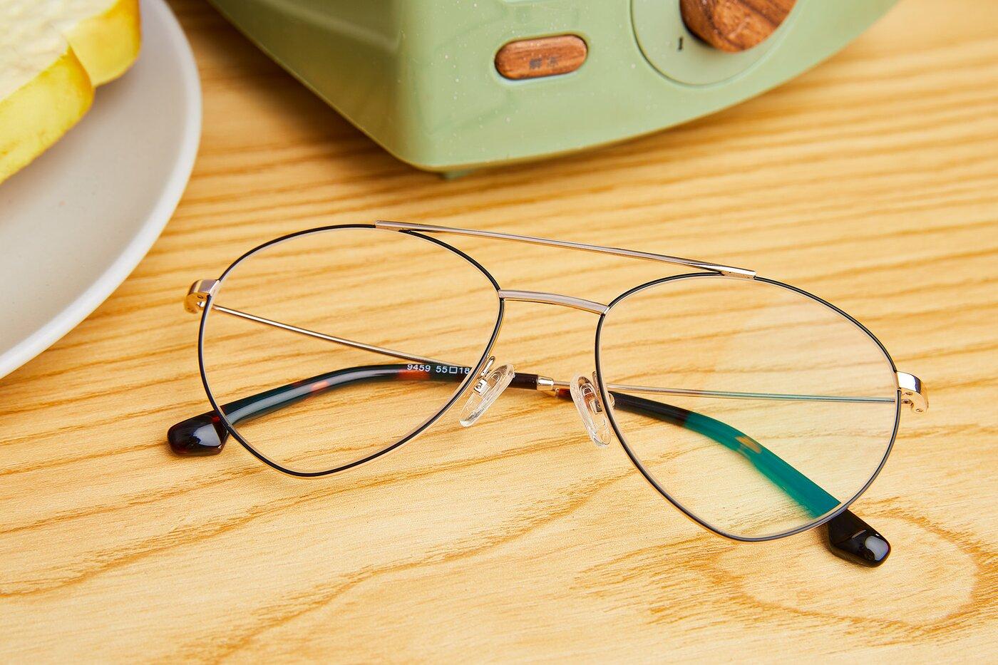 Gold-Black Geek-Chic Aviator Geometric Eyeglasses