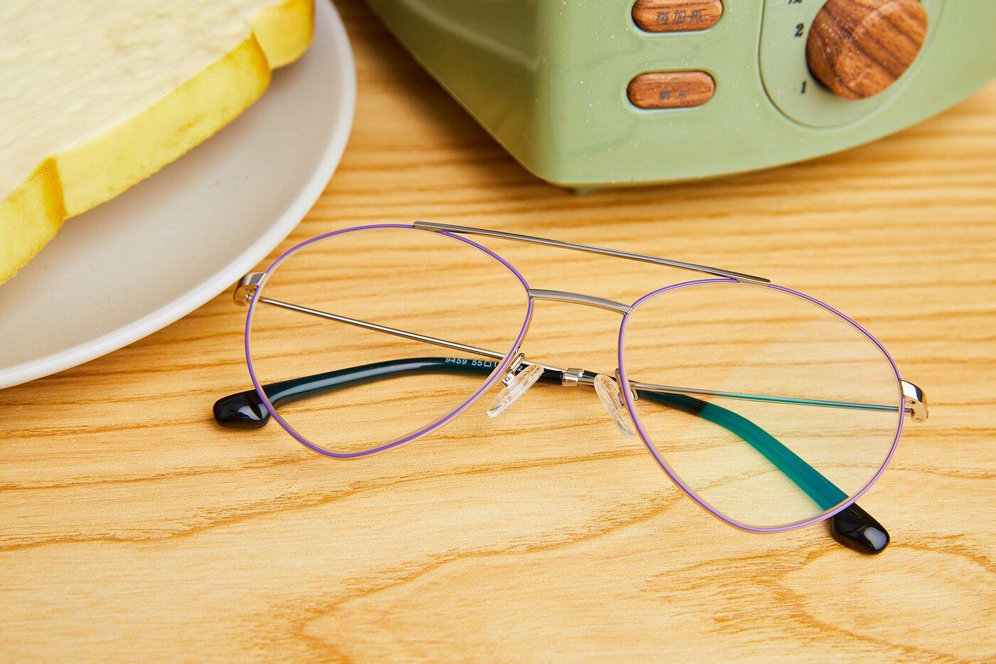 Silver-Purple Geek-Chic Aviator Geometric Eyeglasses