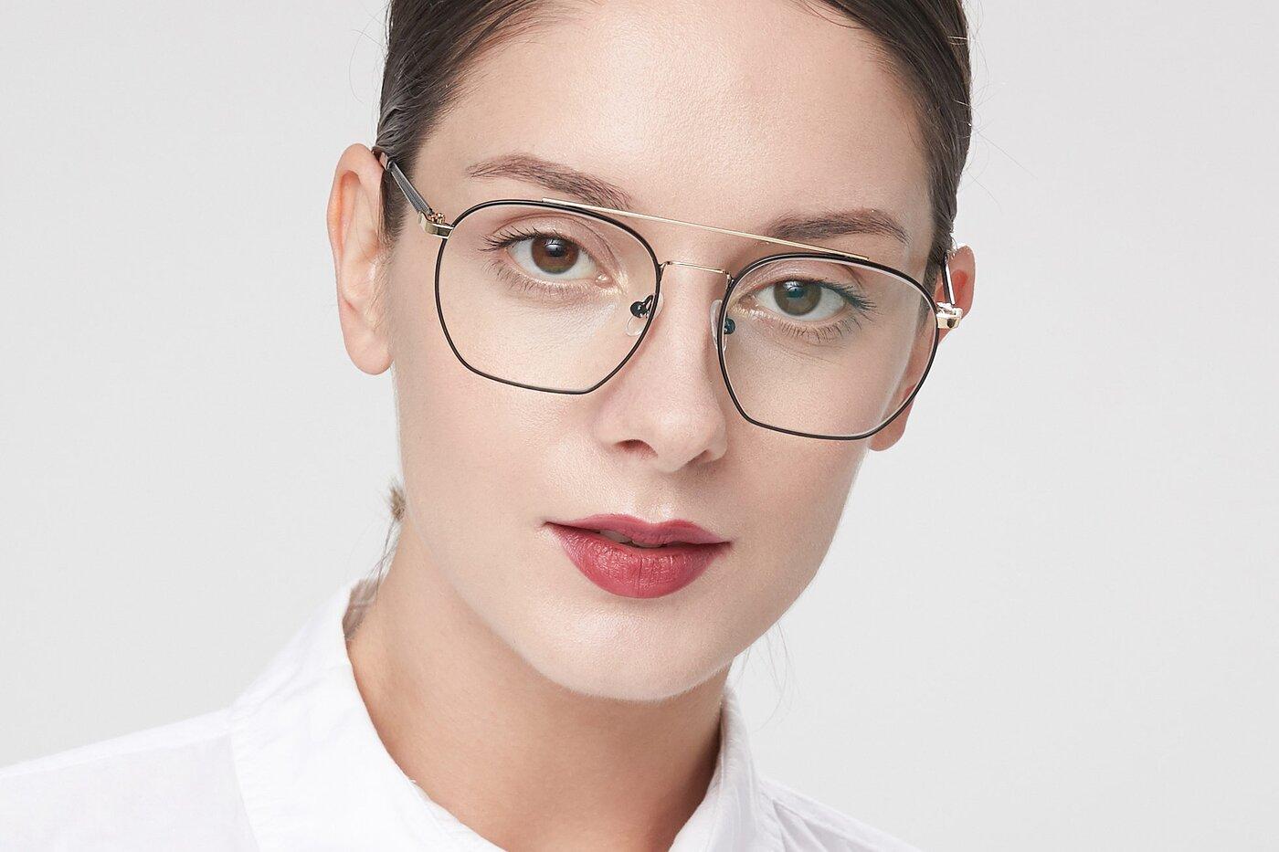 Black-Gold Narrow Hipster Oversized Eyeglasses