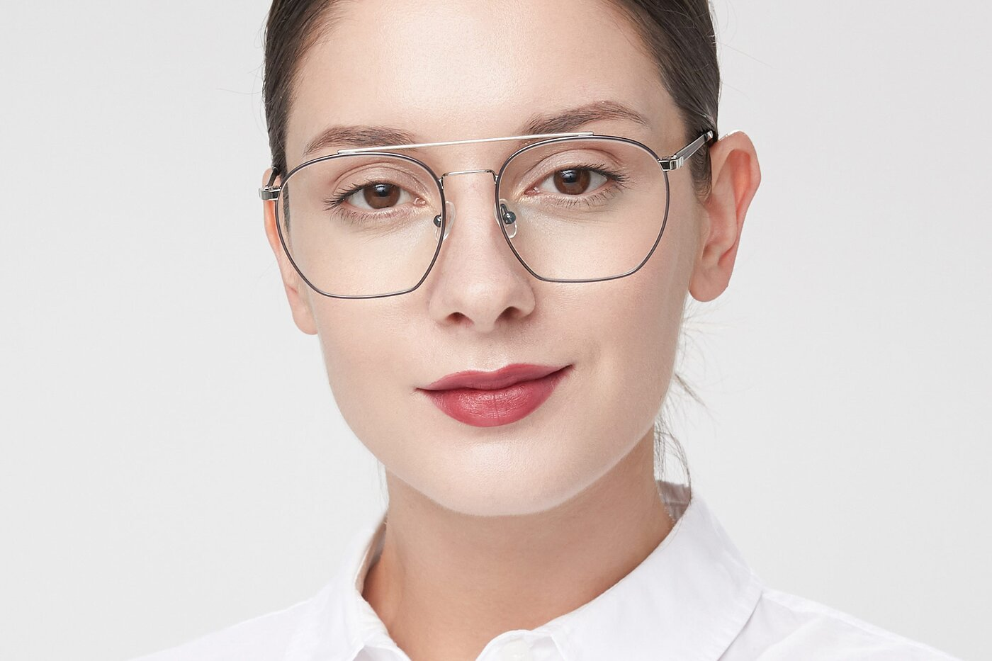 Black-Silver Narrow Hipster Oversized Eyeglasses