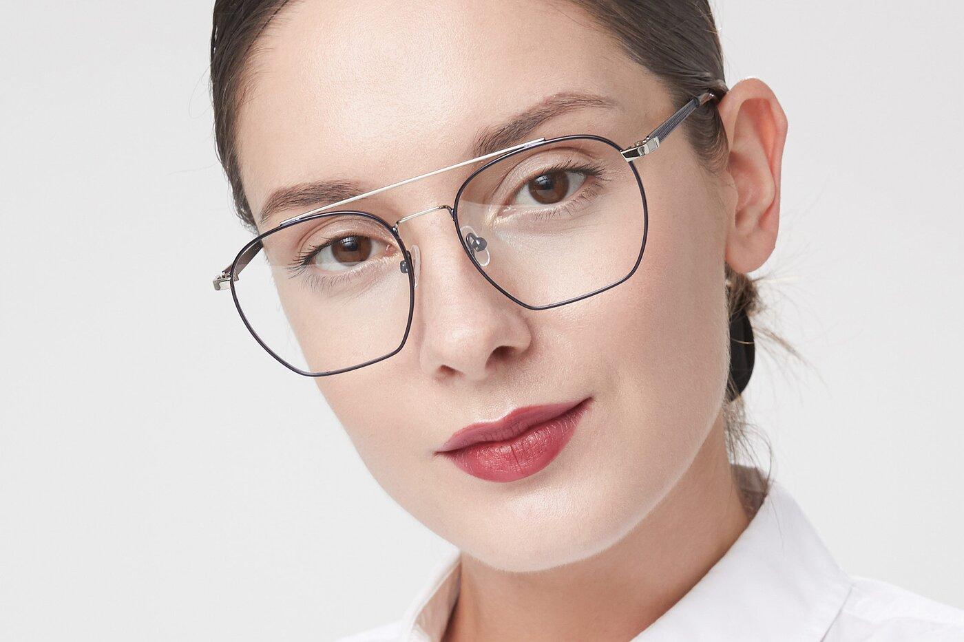 Blue-Silver Narrow Hipster Oversized Eyeglasses