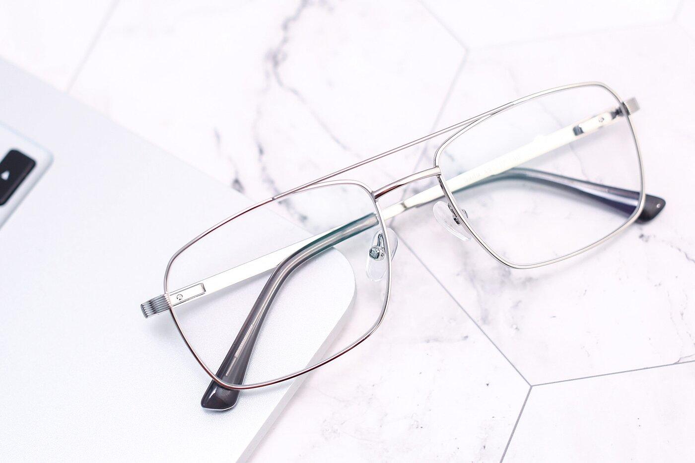 Silver Classic Metal Rectangle Eyeglasses