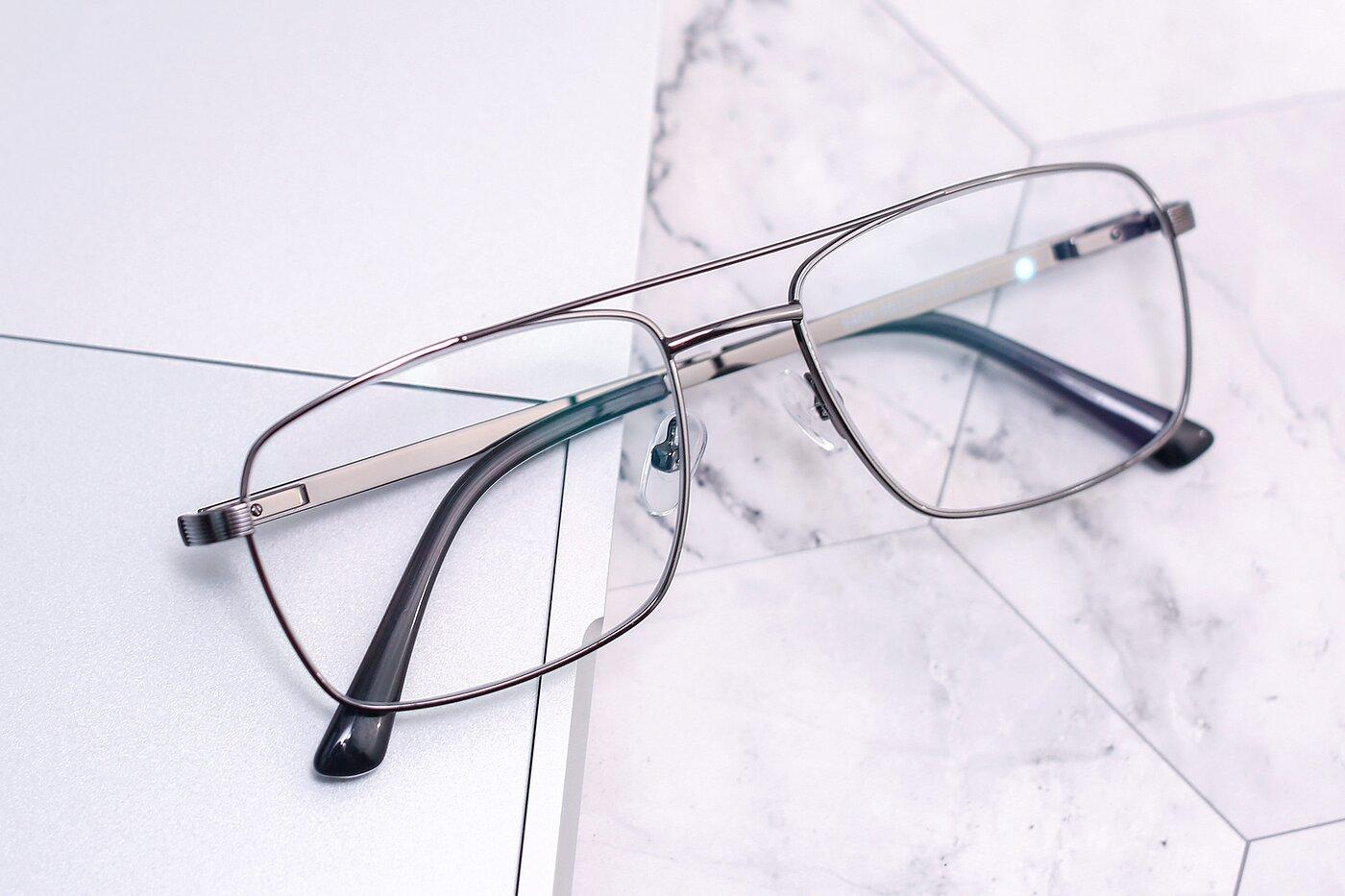 Gun Classic Metal Rectangle Eyeglasses