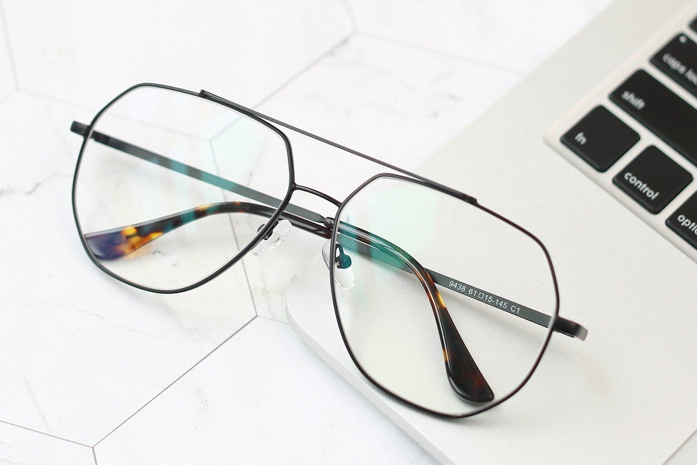 Black Grandpa Oversized Geometric Eyeglasses