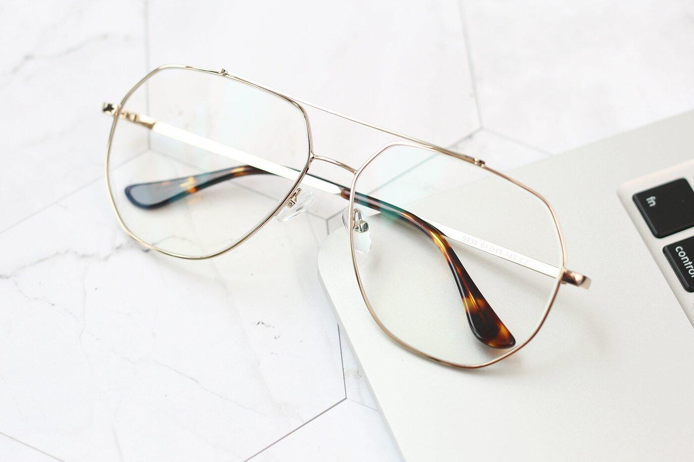 Gold Grandpa Oversized Geometric Eyeglasses