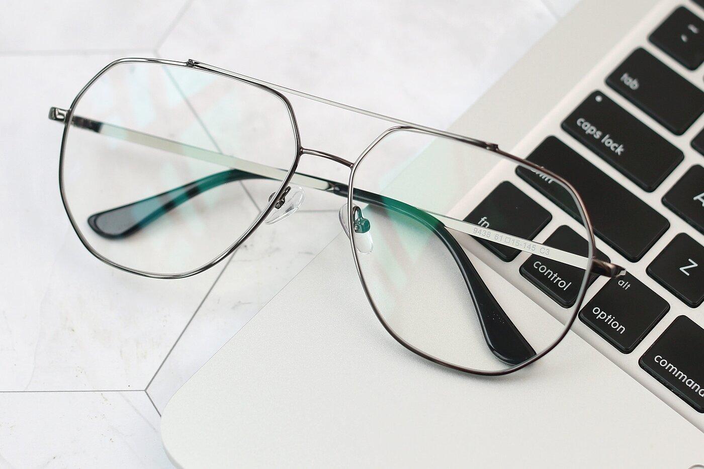 Gunmetal Grandpa Oversized Geometric Eyeglasses